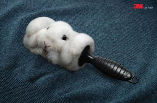 Rolled Rabbit Fur Lint Roller Advert