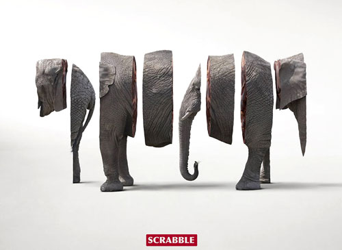 Elephant Scrabble Advertisement