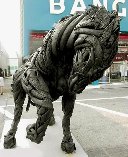 Recycled Tires Horse Sculpture