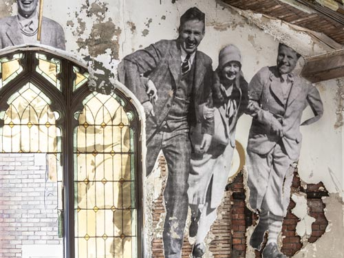 Interior Of An Abandoned Church Used As A Canvas For Vintage Photos