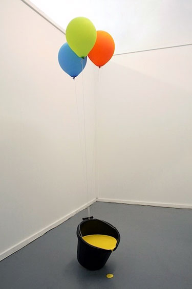 Bucket of Paint with Helium Balloons