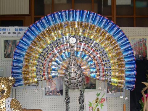 Peacock Sculpture Made From Beer Cans
