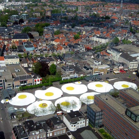 Aerial Photo of Eggcident Art Installation