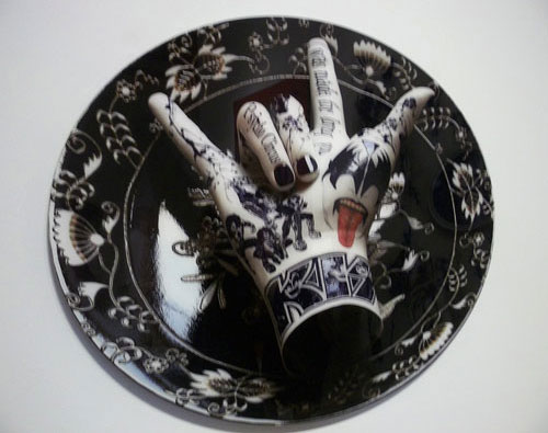 Kiss Painted Porcelain Plate And Hand Sculpture