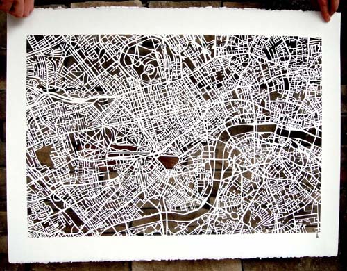 Hand-Cut London Street Map