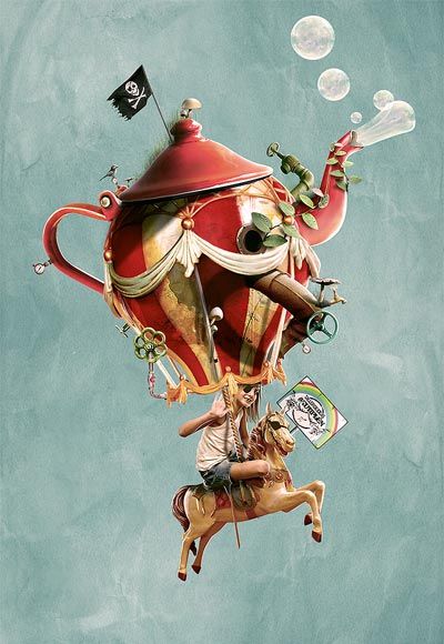 Pirate Girl Riding Teapot Balloon