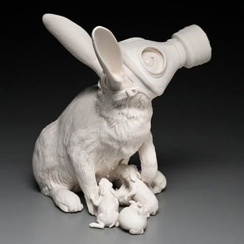 Gas Mask Rabbit Porcelain Sculpture