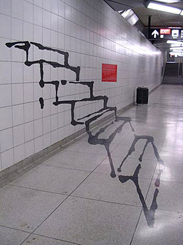 Subway Staircase Illusion at Bayview-Sheppard Station in Toronto