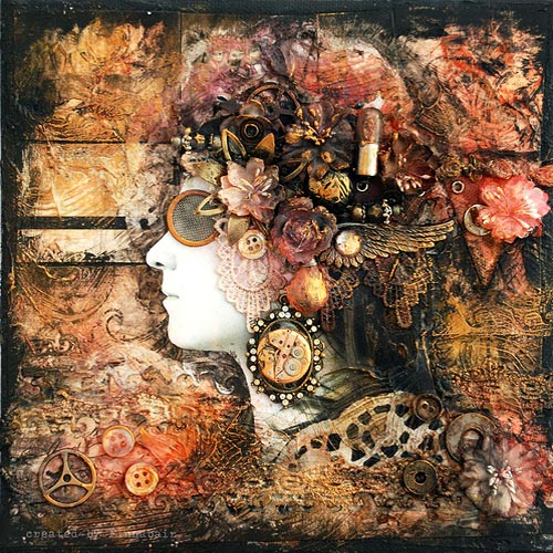 Steampunk Computer Parts Assemblage Portrait Art