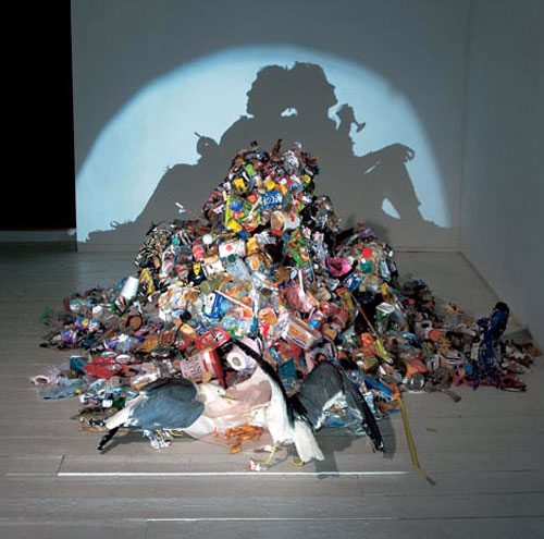 Trash Sculpture Shadow Portrait