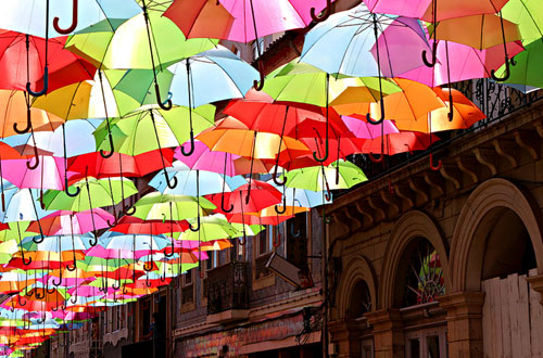 Umbrella Lined Street In Agueda Portugal