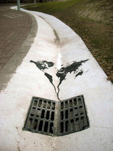 World heading down the drain street art funny bizarre amazing painted world map heading down the drain street art by pejak gumiabroncs Image collections