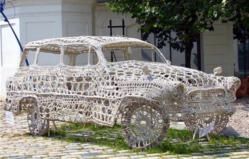 Fabric Doily Car Sculpture