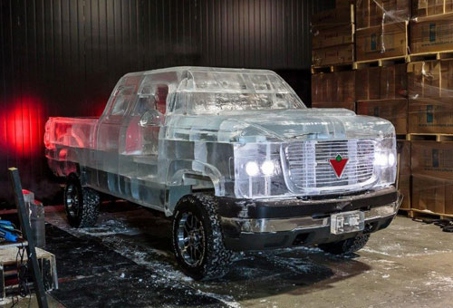 Running Pick Up Truck Ice Sculpture