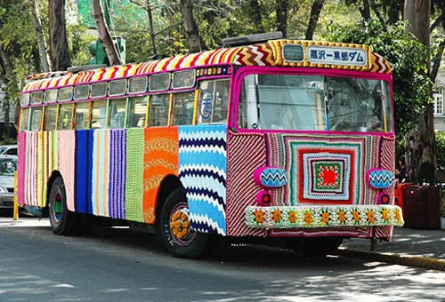 Yarn Bombed Bus in Mexico City
