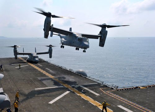 MV-22 Osprey Helicopter Taking Off The Flight Deck
