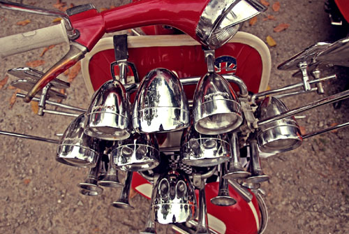 Vespa Scooter With Extra Horns, Mirrors and Head Lamps