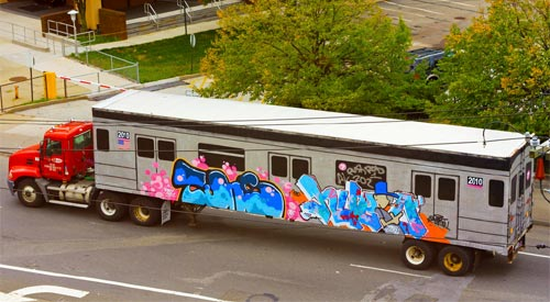 Truck Trailer Painted As A Subway Train