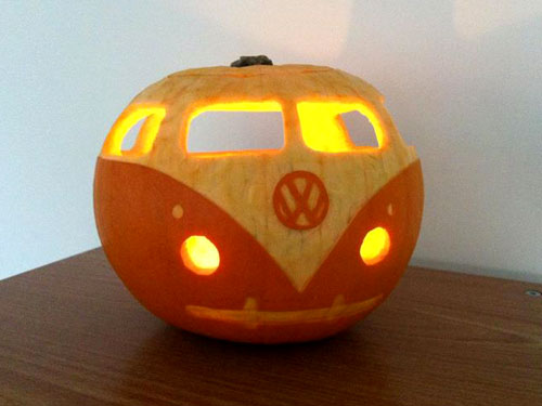 VW Camper Van Carved Pumpkin