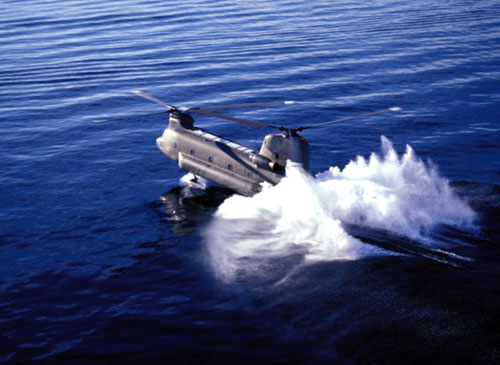 Chinook Helicopter Landing On Water