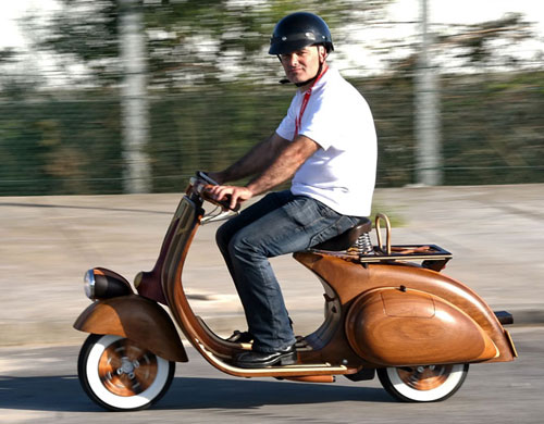 Working Wooden Vespa Scooter