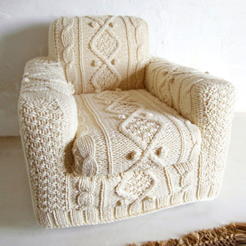 Hand-Knit Sweater Armchair Slip Cover