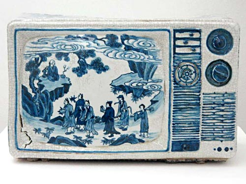 Porcelain Television Sculpture