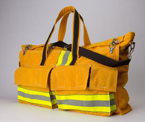 Hand-Crafted Bag Made From A Firefighters Turnout Coat