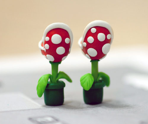 Mario Brothers Plant Earrings