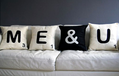 Me & You Scrabble Throw Pillows