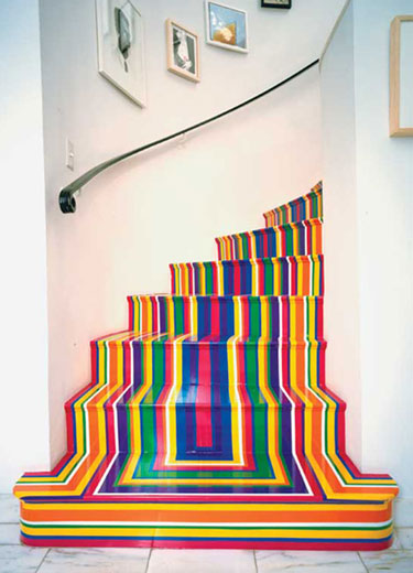 Vinyl Tape Striped Staircase