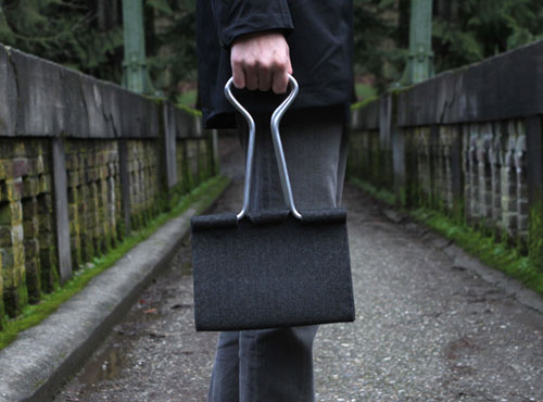Felt And Aluminum Binder Clip Hand Bag