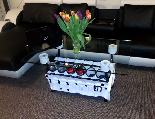 V12 Engine Wine Rack Coffee Table