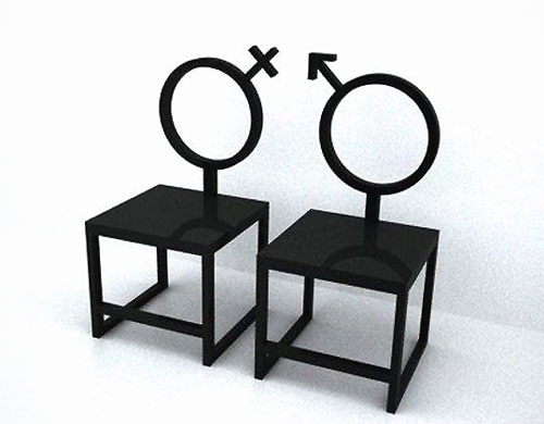 His And Her Gender Symbol Chairs