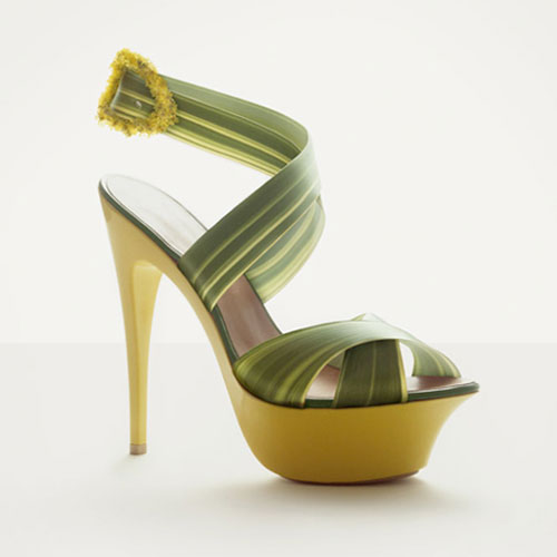 Ribbon Grass Strap On A High-Heel Shoe