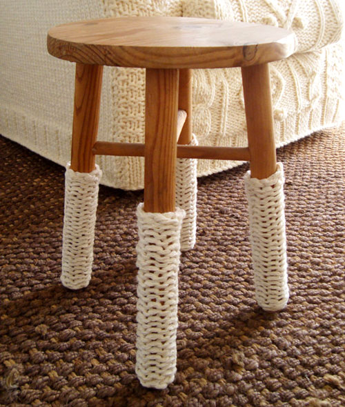 Hand Knit Chair Stool Leg Warmers