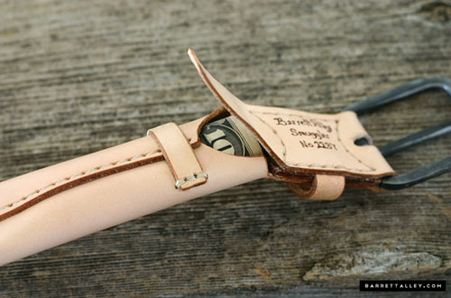 Belt With A Hidden Money Compartment Behind The Buckle