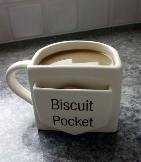 Coffee Cup With A Cookie Pocket