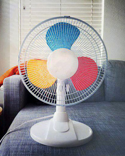 Rainbow Colored Fan Blades