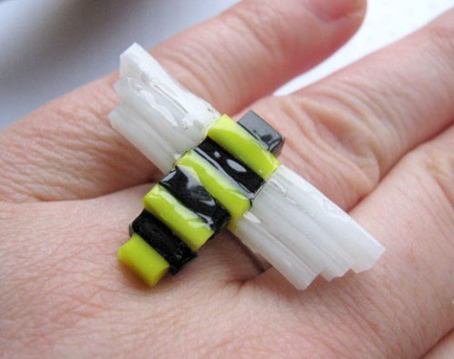 Stained Glass Bumble Bee Ring
