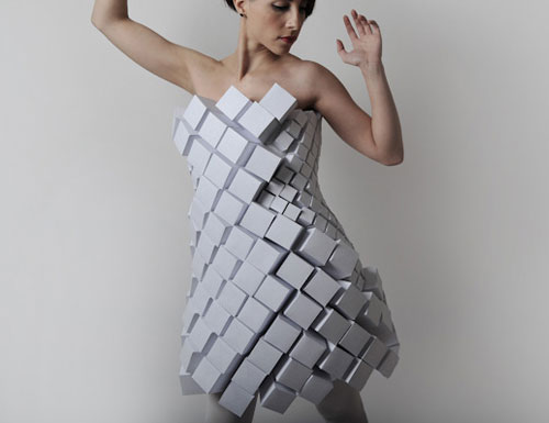 Geometric Dress made from Paper Cubes