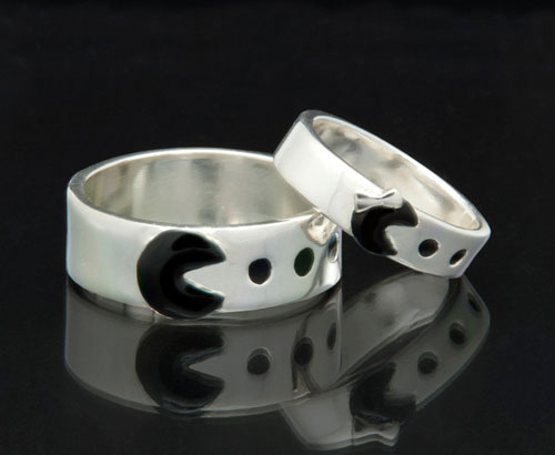 Geeky Themed Silver Pacman Wedding Bands