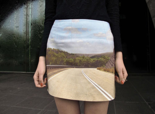 Blind Curve Road Scene Skirt
