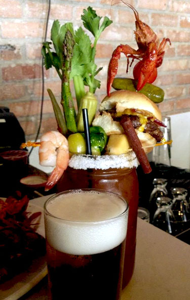 Bloody Mary Topped With Whole Crawfish And Bacon Cheeseburger