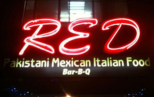 Pakastani Mexican Italian Food Sign
