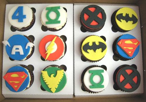 Superhero Logo Cupcakes