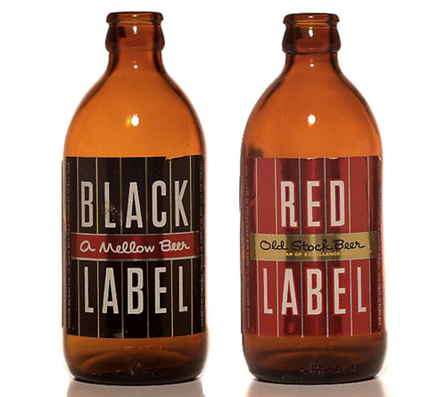 Red Label and Black Label Beer Bottles