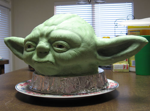 Realistic Yoda Head Cake Sculpture