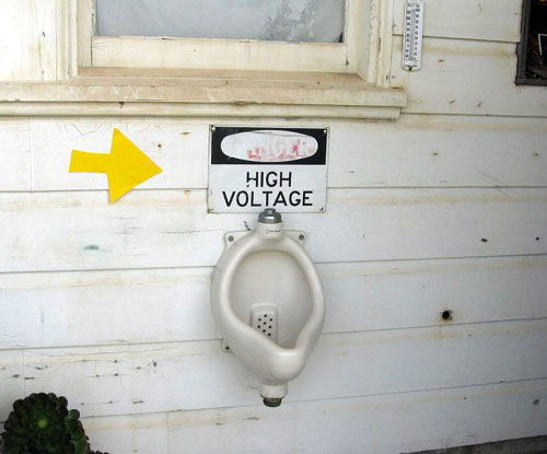 Danger, High Voltage Urinal