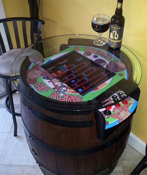 Wine Barrel Table Top Donkey Kong